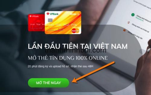 Hướng dẫn mở thẻ tín dụng VPbank Online