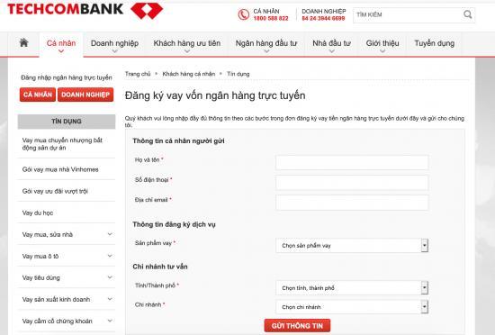 Vay tiền online techcombank