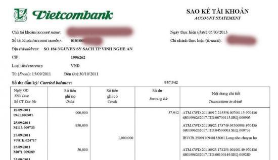 Xin sao kê ngân hàng Vietcombank, Cách sao kê tài khoản Vietcombank