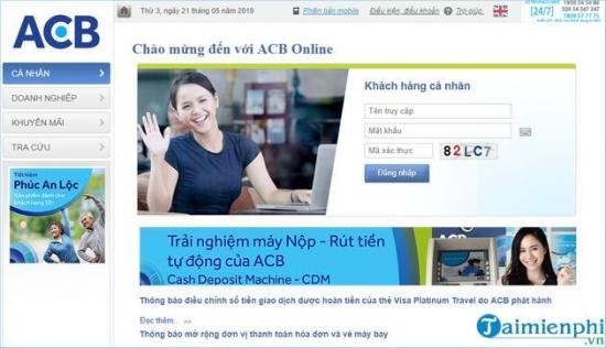 Quên tên đăng nhập internet banking ACB, quên mật khẩu internet banking Acb online