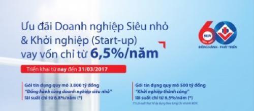 BIDV cho DN siêu nhỏ và khởi nghiệp vay vốn với lãi suất chỉ từ 6,5% năm