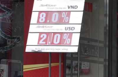 Lãi suất tiền gửi đã chạm mức 8,2%/năm