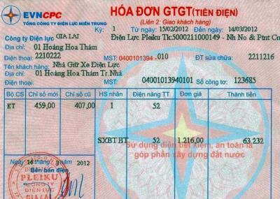 Vay theo hóa đơn tiền điện tại Đồng Nai