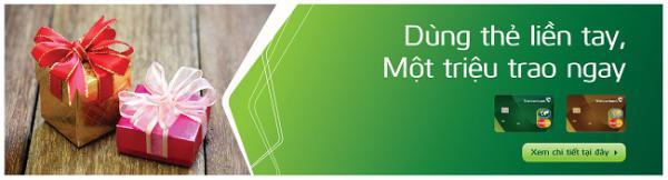 Tặng 1 triệu đồng cho chủ thẻ thẻ tín dụng Vietcombank MasterCard giao dịch chi tiêu bằng thẻ